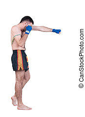 Muay Thai fighter Isolated over white background