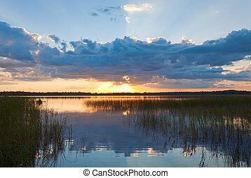 Summer rushy Lake sunset view with cloud reflections in...