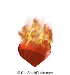 Burning Heart with Fire Flame Isolated on White Background