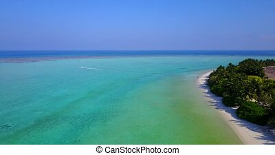 v05080 Aerial flying drone view of Maldives white sandy...