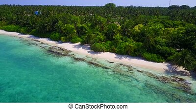 v05271 Aerial flying drone view of Maldives white sandy...