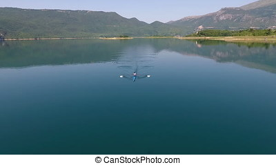 Aerial view of Rowing boat on lake