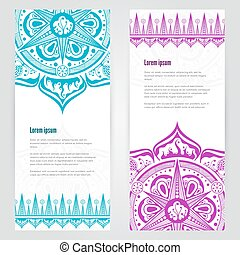 template with mandala design - Set of brochure templates...