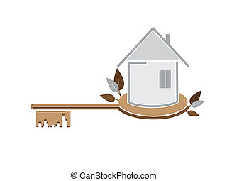 Key from the house - Simple illustration of house against...
