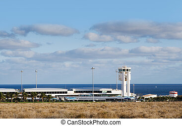 airport Lanzarote with traffic control center, spain