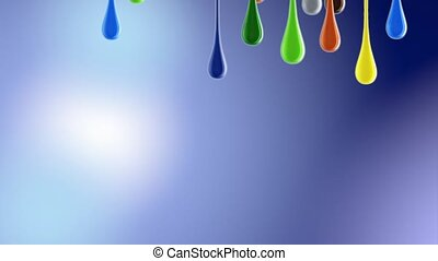 3D multicolor colorful glossy paint blobs dripping down. 4K