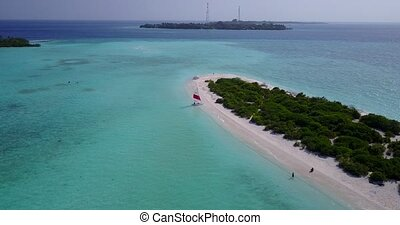 v05422 Aerial flying drone view of Maldives white sandy...