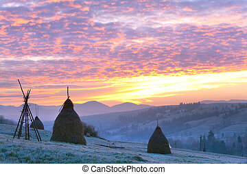 First autumn frosts and sunrise in mountain - first autumn...