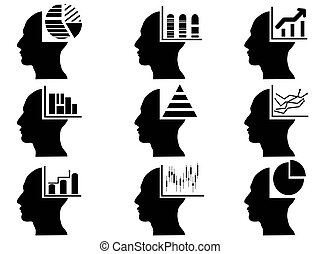 business head with statistics icons set