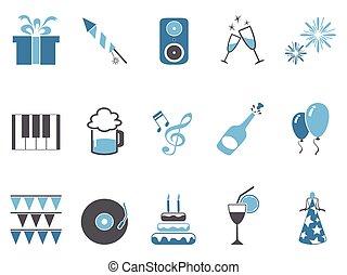 blue celebrating holiday party icons set - isolated blue...
