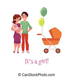 vector flat adult couple infant, baby stroller - vector flat...