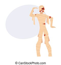 Young man wrapped in bandages, spooky mummy Halloween party...