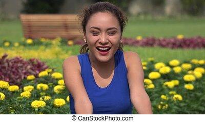 Happy Excited Hispanic Woman