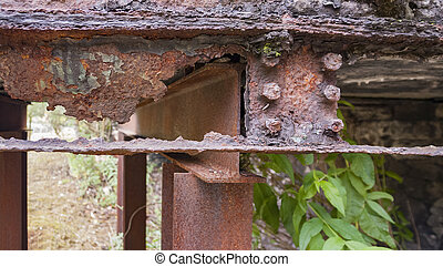 rusty steel girder detail