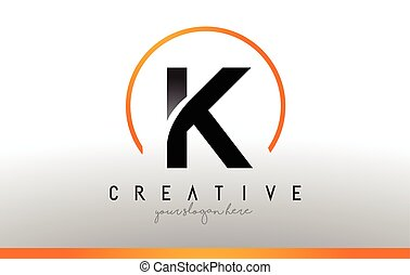 K Letter Logo Design with Black Orange Color. Cool Modern...
