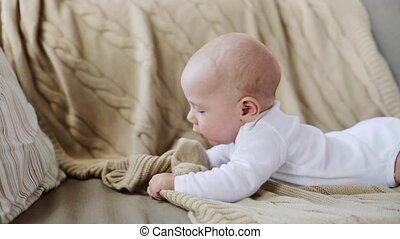 lovely baby boy on sofa at home - children, babyhood and...