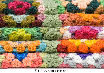 Stacked Crochet Squares - Stack of crocheted Granny or...