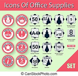 Icons Of Office Supplies - A set of icons, signs and symbols...