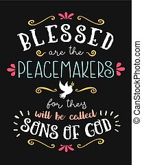 Blessed are the Peacemakers Hand Lettering Typographic...