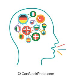 concept of language learning icon - concept of language...