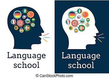 icon of the language school flags - icon of the language...