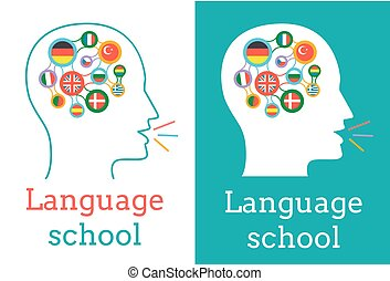 icon of the language school in the form of a silhouette of a...