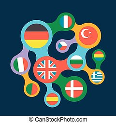 interrelated flags countries flat icon - concept of language...
