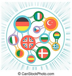interrelated flags countries icon - concept of language...