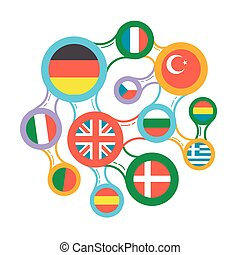 interrelated flags countries linear icon - concept of...