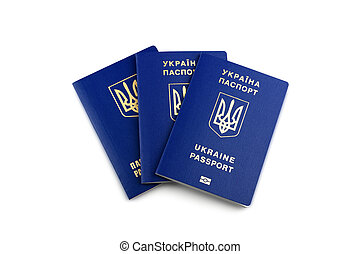 Ukrainian biometric passports isolated on white background