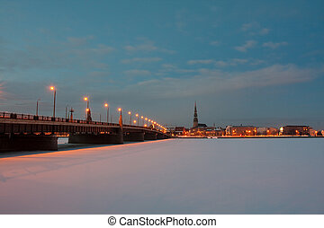 ponte, noturna, cidade