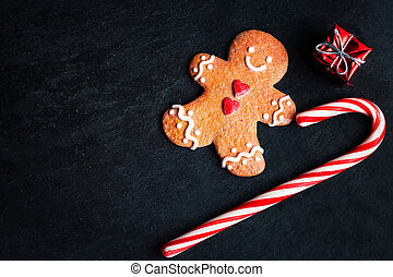 Christmas Decorations with Christmas gift box, Gingerbread...