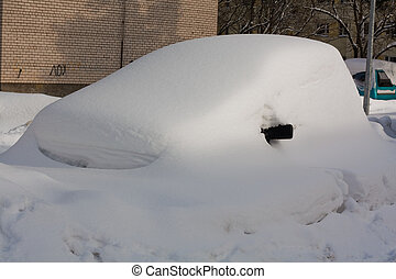 Car in Snowbank in winter close up