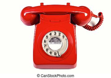 Retro red telephone isolated