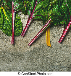 Flat-lay of fresh leaves of swiss chard, square crop -...