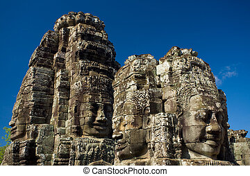 Happy Faces Bayon Temple Eye Level - The happy faces of the...