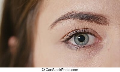 Human Eye with the Pupil Constriction - Macro of a woman's...