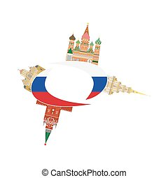 russia sights flag - set in the style of a flat design on...