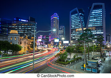 Seoul. - Cityscape image of Seoul downtown at night.