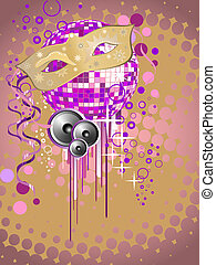 carnival party - vector illustration of a carnivale mask on...