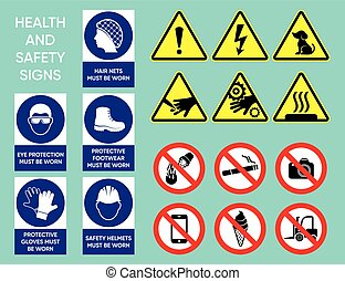 Health and safety signs collection - Health and safety signs...
