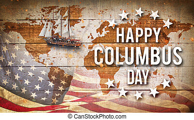 Happy Columbus day banner, patriotic background - Happy...