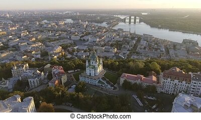 St. Andrew's Church (Kiev) Ukraine. Cityscape from a height....