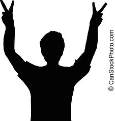 victory sign - a man with victory sign silhouette, victory...