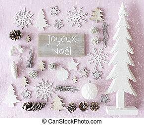 Decoration, Flat Lay, Joyeux Noel Means Merry Christmas,...