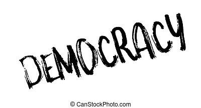 Democracy rubber stamp. Grunge design with dust scratches....
