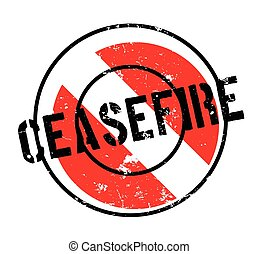 Ceasefire rubber stamp. Grunge design with dust scratches....