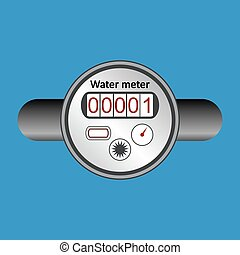 Water meter icon. - Water meter icon on blue background....