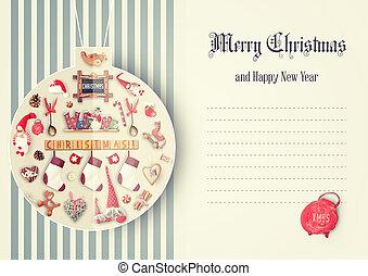 Merry Christmas Greeting Card - Drawn Christmas Ball with...
