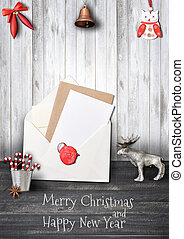 Merry Christmas Greeting Card with Elk and Xmas Elements on...